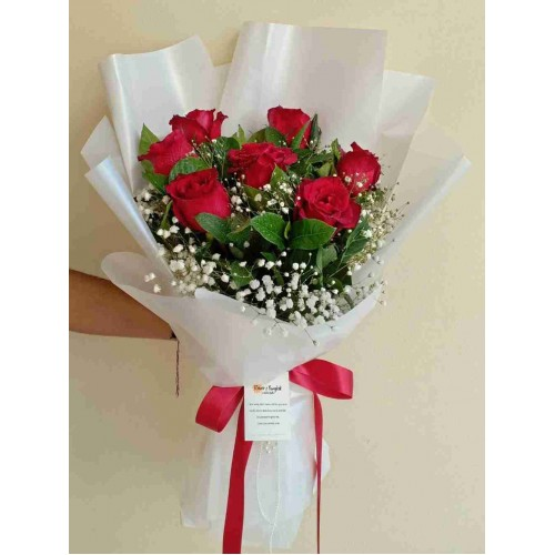 7 Red Rose White Bouquet
