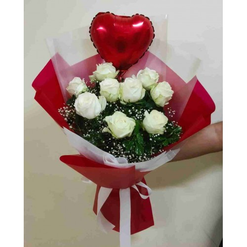 9 White Rose & Heart Bouquet