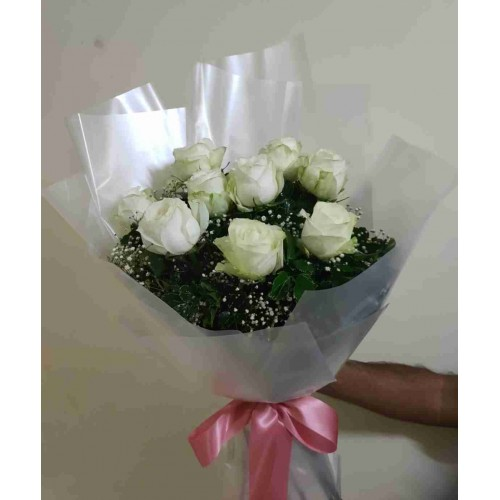 9 White Roses White Bouquet