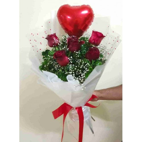 5 Red Rose & Heart White Bouquet
