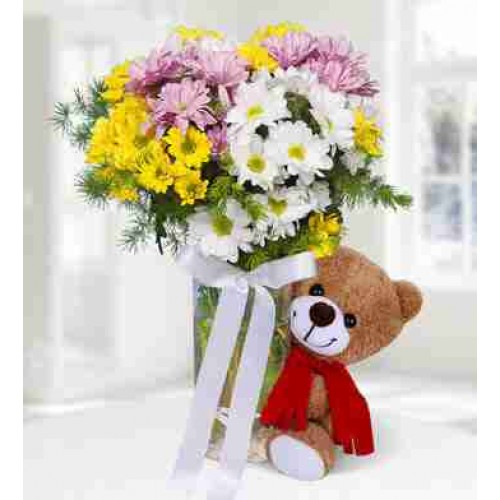 Colorful Daisies with Teddy Beer