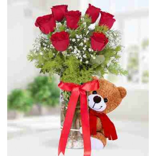 12 Red Rose with Teddy Beer